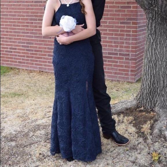 Trixxi Dresses Navy Blue Rose Prom Dress Poshmark